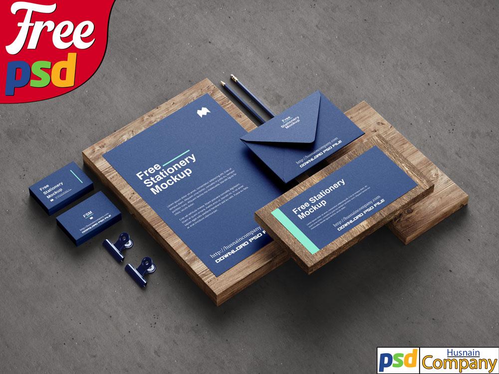 Download Free Stationery PSD Mockup #1
