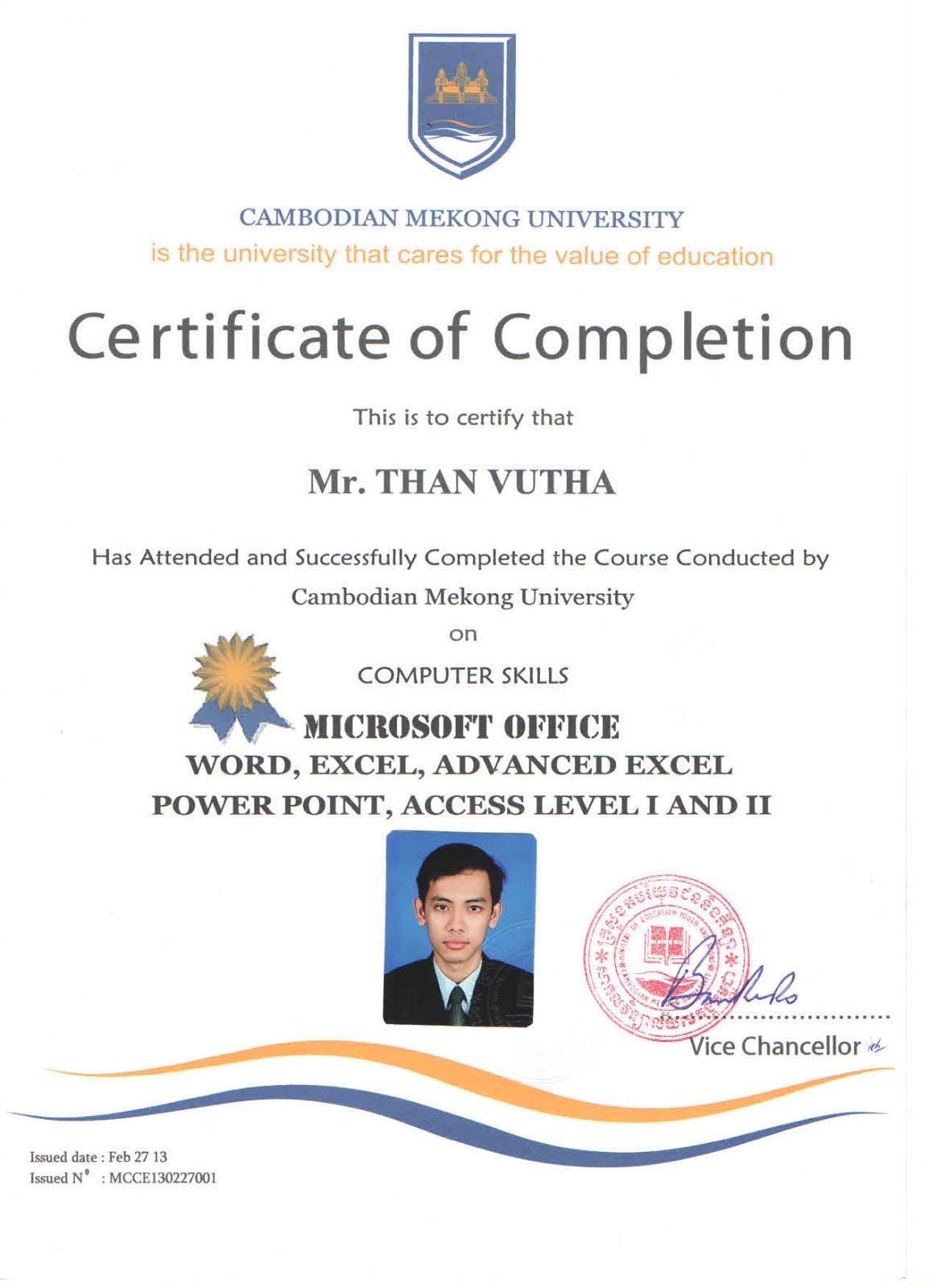 T H A N V U T H A Computer Certificate
