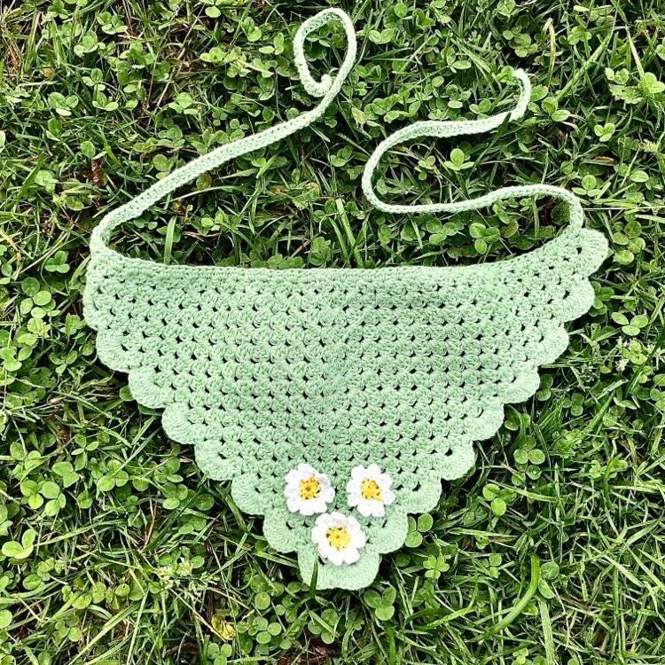 crochet bandana in the grass