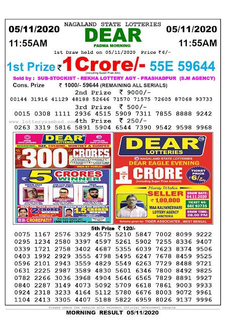 Lottery Sambad 05-11-2020, Lottery Sambad 11.55 am results, nagaland Lottery Results, Lottery Sambad Today Results Live, Morning results