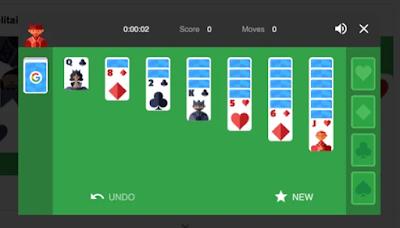لعبة سوليتير الشهيرة (محرك بحث جوجل)