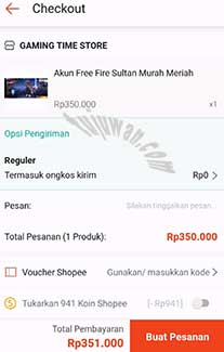 Cara membeli akun FF sultan di shopee online