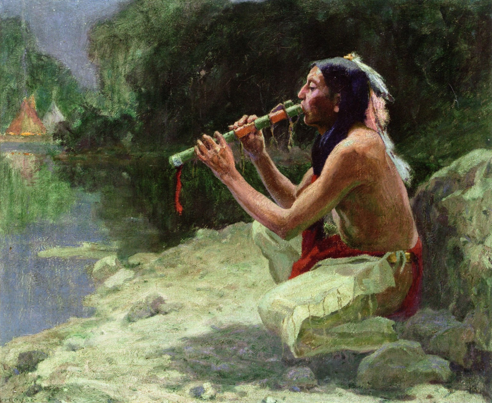 Eanger  Irving  Couse  The  Call  of  the  Flute C