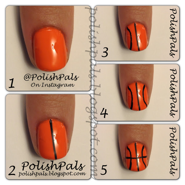 polish pals basketball nails tutorial
