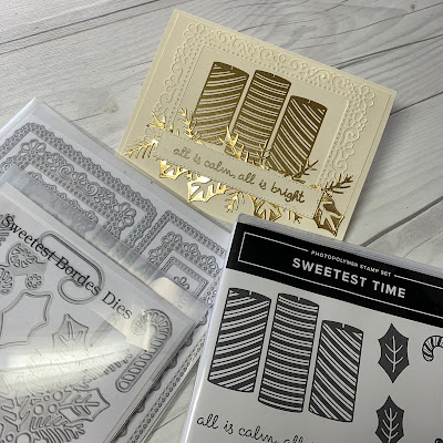 Die cuts and stamp sets used to make this gold foil and embossed Christmas Card