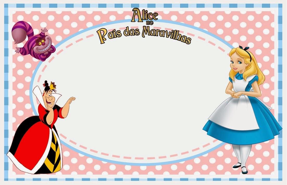 Para hacer invitaciones, tarjetas, marcos de fotos o etiquetas, para imprimir gratis de Alicia en Rosa y Celeste.