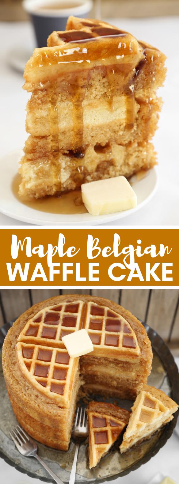 MAPLE BELGIAN WAFFLE CAKE #desserts #bake