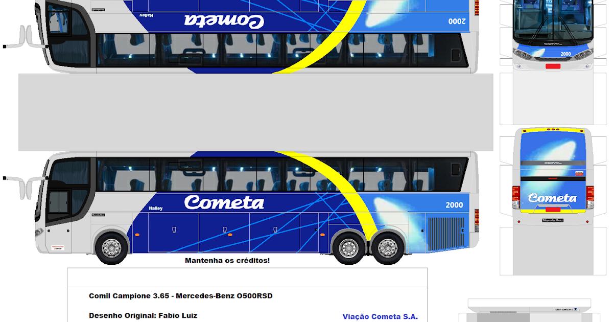Mercedes Benz Papercraft >> SP. Papel Modelismo: PaperCraft Ônibus Comil Campione 3.65 - Mercedes-Benz O500RSD - Viação Cometa