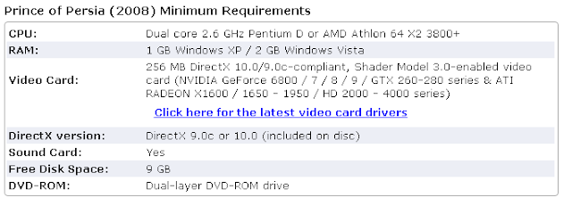 prince of persia 4 system requirements
