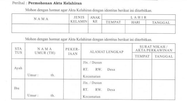 Formulir permohonan Akta Kelahiran anak