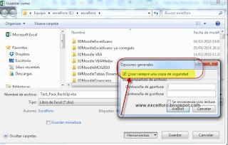 La Opción Crear Siempre una Copia de Seguridad de nuestro libro Excel.