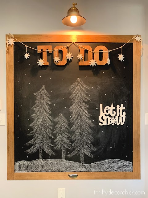 Huge chalkboard with Christmas trees