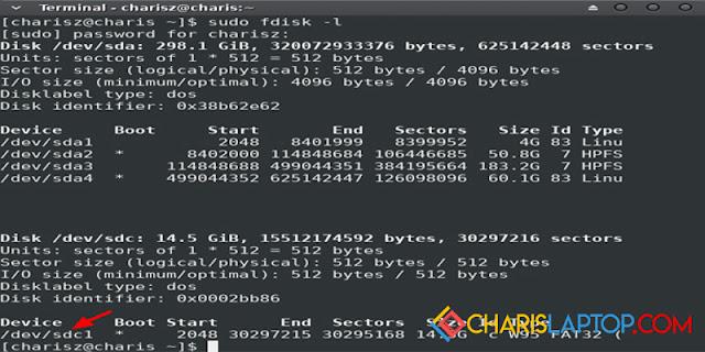 cara mudah format flashdisk di linux