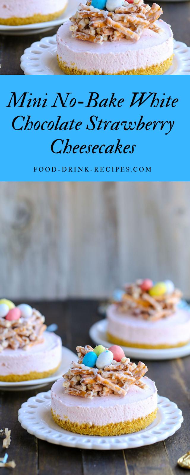 Mini No-Bake White Chocolate Strawberry Cheesecakes - food-drink-recipes.com