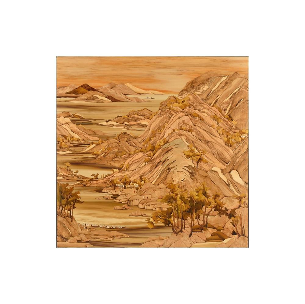 Sandy老師創作理念:「趁著雲淡風輕的好氣候,登上村落旁的小山丘,不但能眺望山水間的美麗風采,更能飽覽慶祝活動的熱鬧景象。」