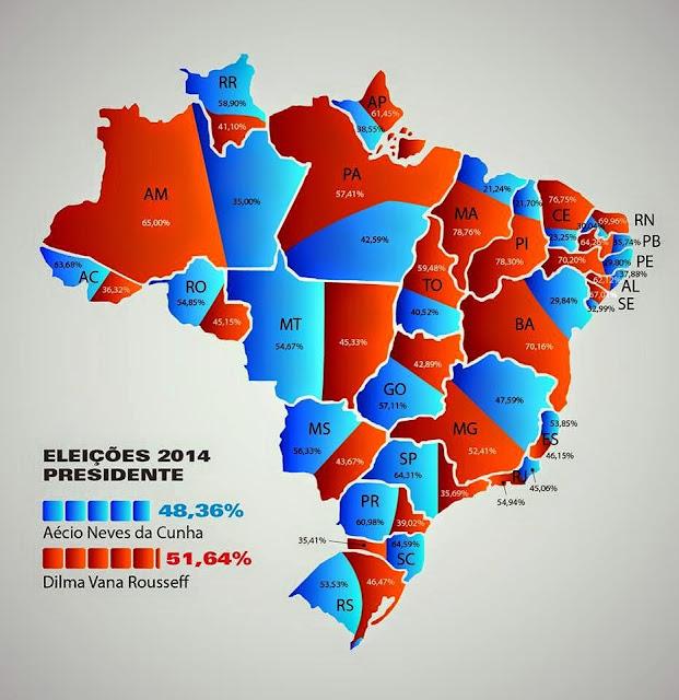 O mapa do Brasil após o resultado final das eleições presidenciais de 2014 e diz: tudo junto misturado. O mapa mostra que a população reelegeu por unanimidade a Presidente da República Dilma Rousseff para mais um mandato de 4 anos.