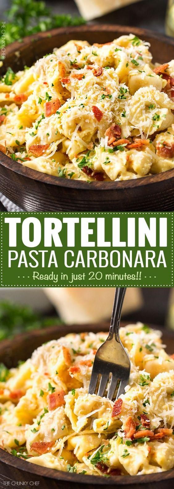 20 MINUTE TORTELLINI PASTA CARBONARA  #quickrecipes #tortellini #pasta #pastarecipes #easypastarecipes #carbonara