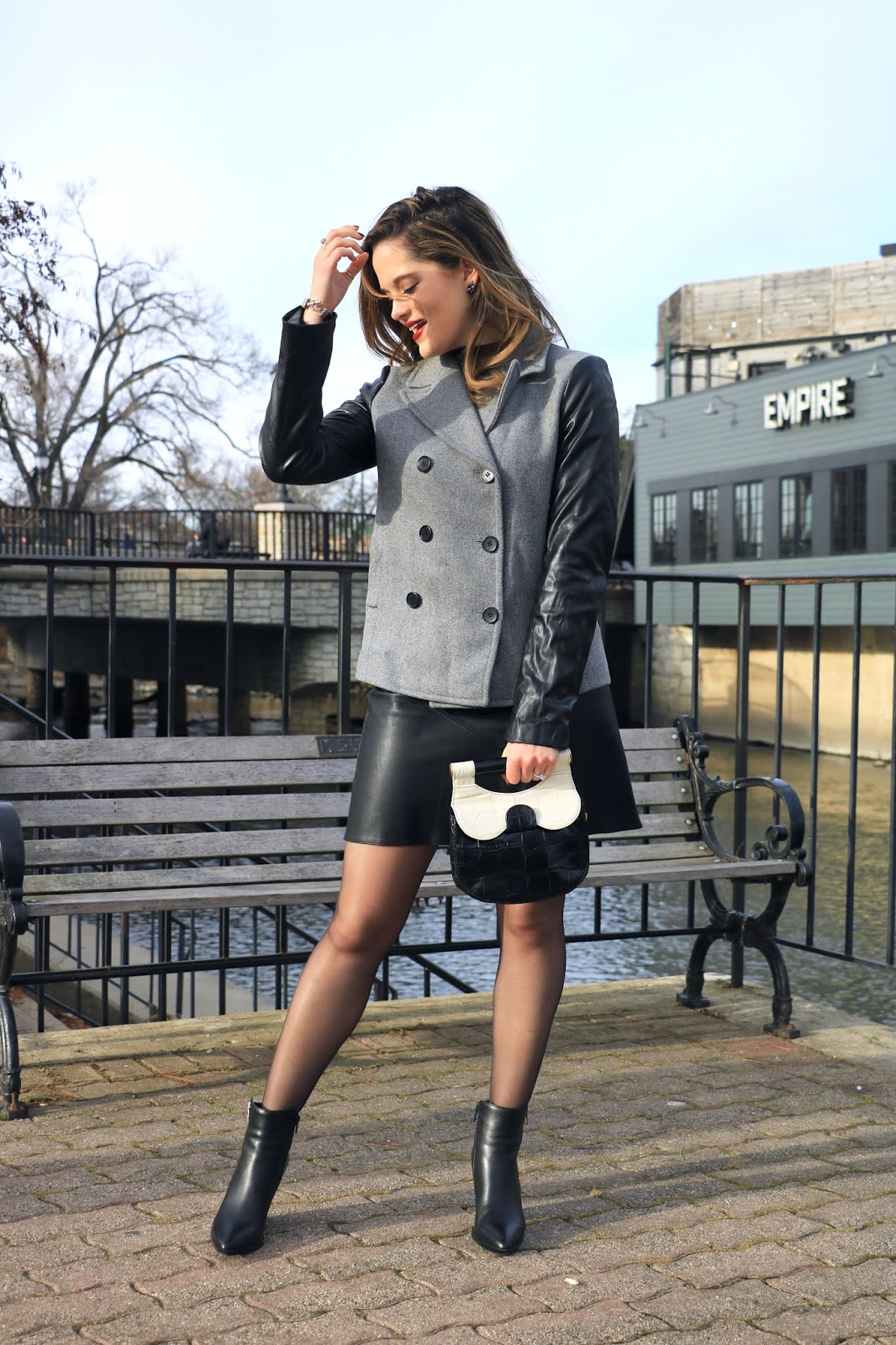 Nyc fashion blogger Kathleen Harper's leather mini skirt outfit.