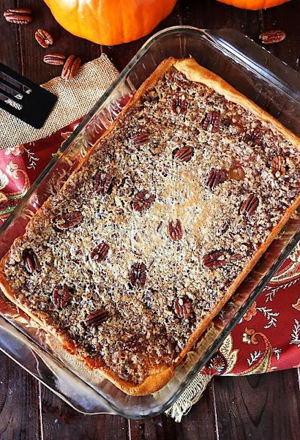 Crescent Pecan Pie Squares in Baking Pan Image