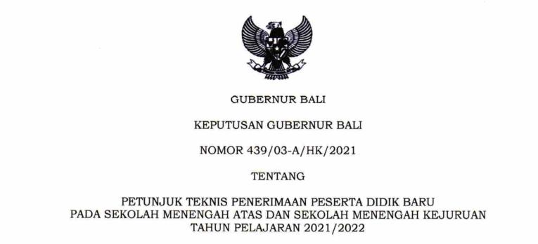 Petunjuk Teknis Juknis PPDB SMA SMK Provinsi Bali Tahun Pelajaran 2021/2022