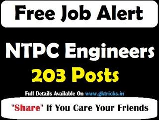 NTPC Engineers Recruitment 203 Posts