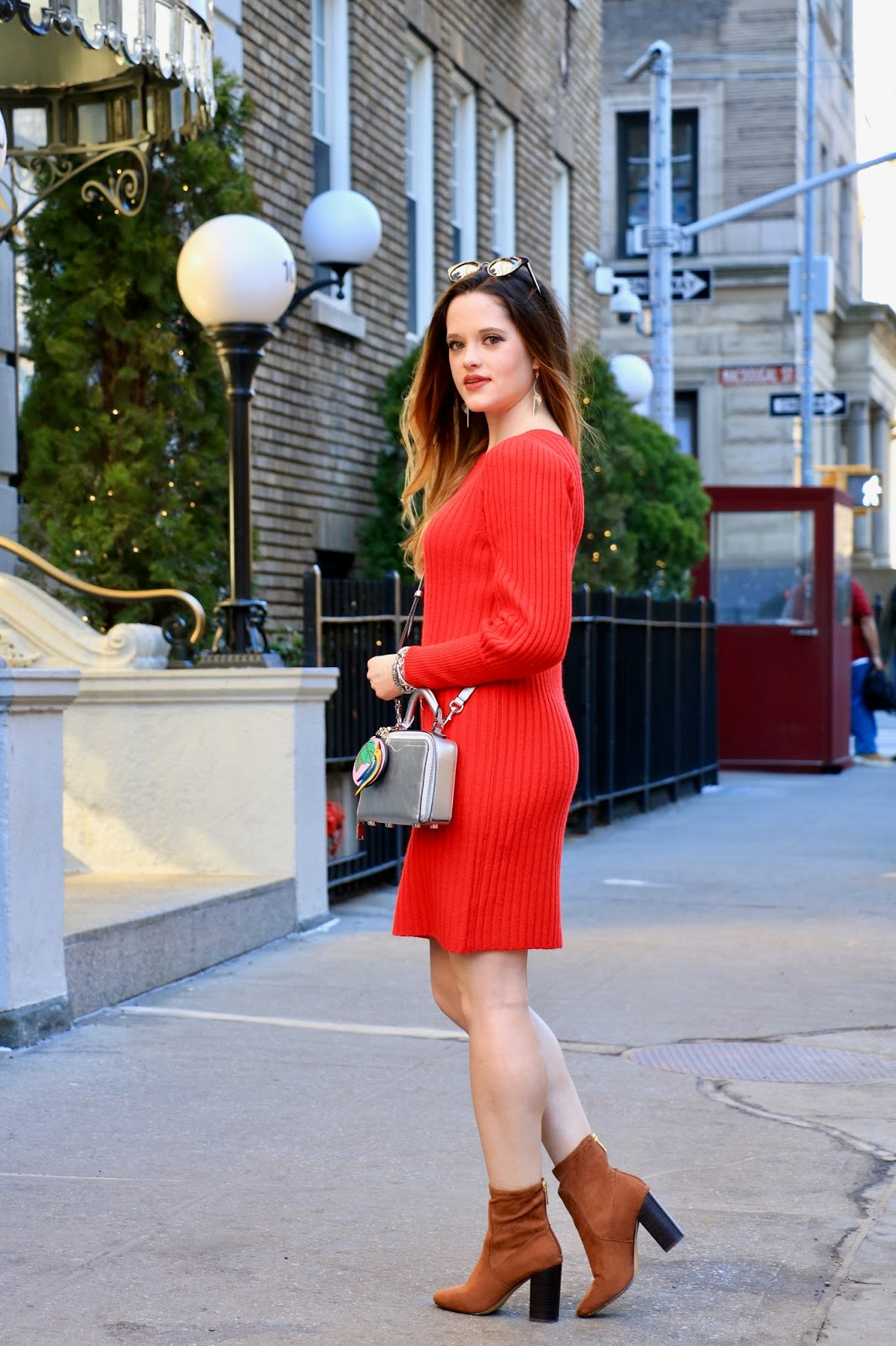 Nyc fashion blogger Kathleen Harper wearing a tight sweater dress