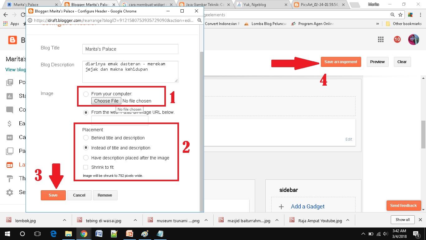 Cara Membuat dan Memasang Gambar untuk Header Blog di Blogspot edit dan install