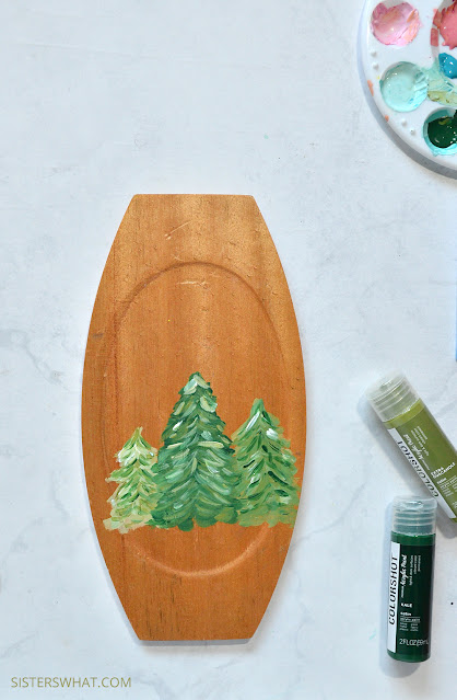 modern evergreen trees painted
