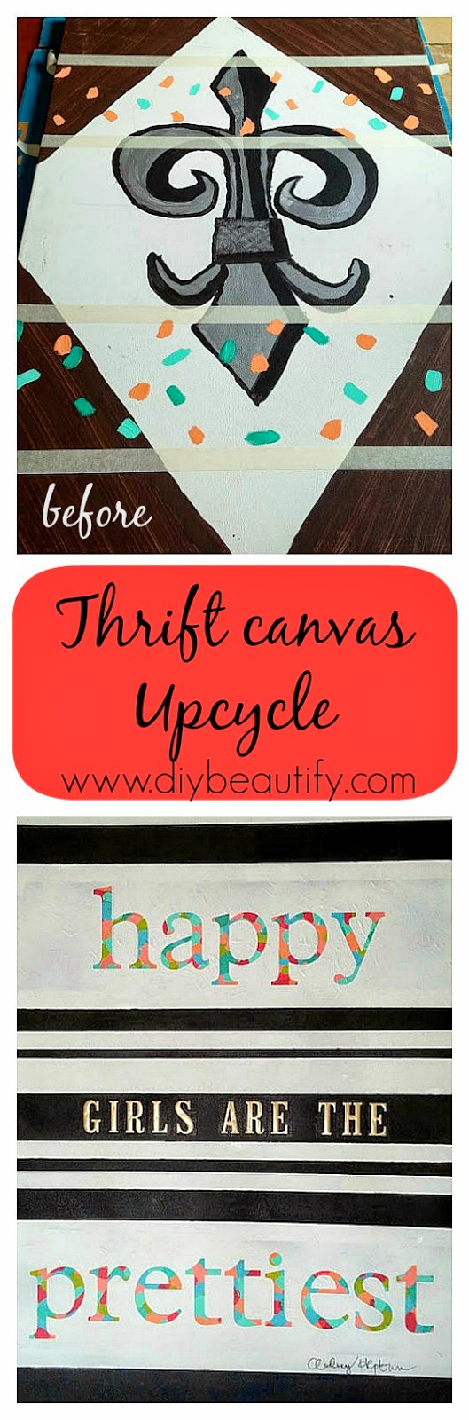 Thrift store canvas upcycle www.diybeautify.com