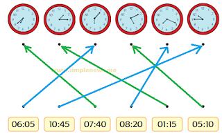 Pasangkanlah jam dengan waktu yang sesuai
