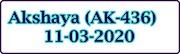 AKSHAYA AK-436 Kerala Lottery Result Today 11-03-2020