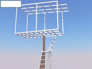 Bentuk kerangka tangga, dak, dan atap ruang pembantu