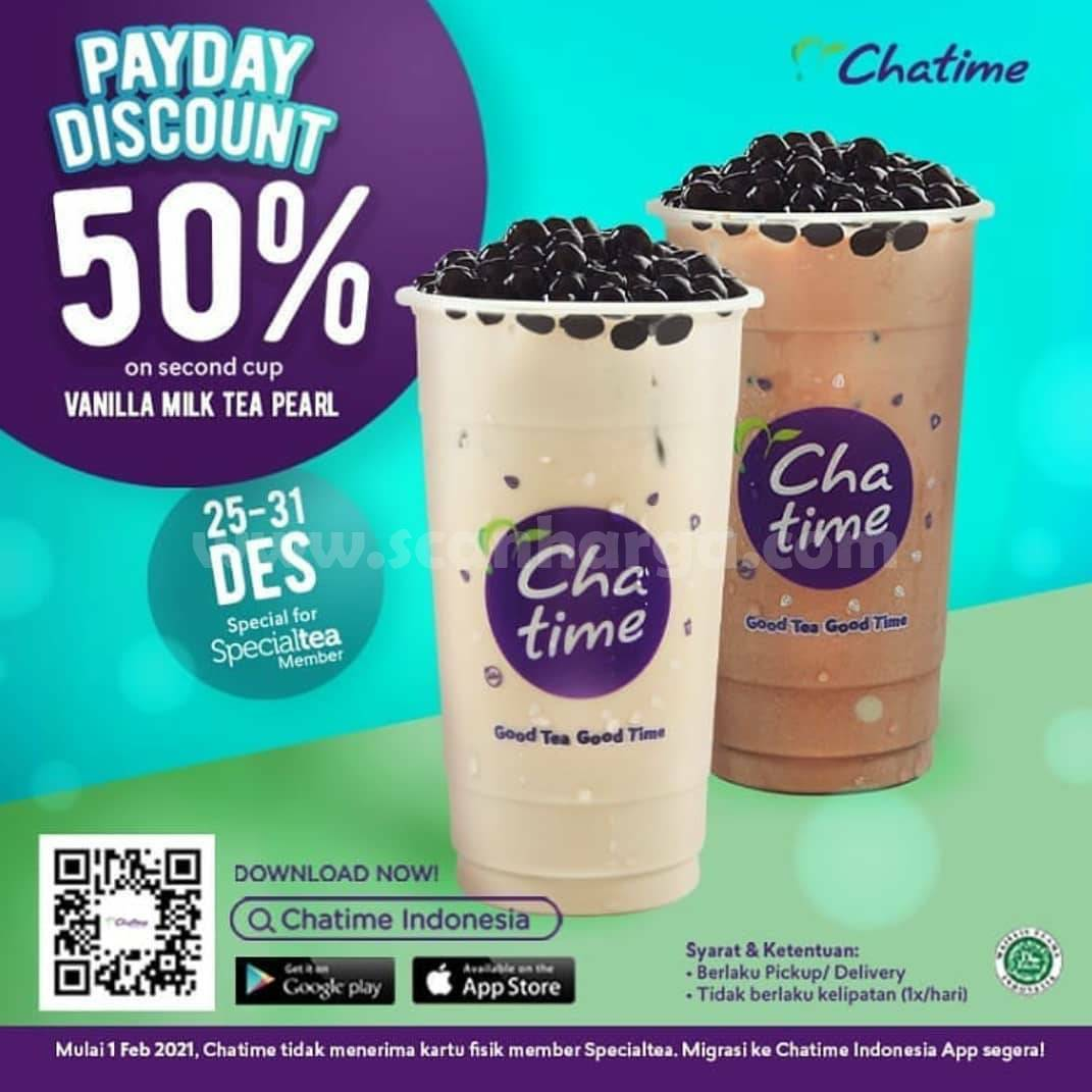 PROMO CHATIME PAYDAY – Diskon 50% untuk Vanilla Milk Tea with Pearl