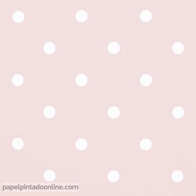 papel para paredes con el fondo rosa palo y los topos en color blanco ref. 054