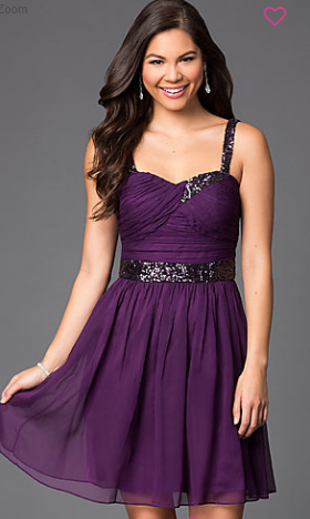 PromGirl's Purple with Belt and Spaghetti