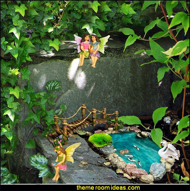 Fairy Garden Fish Pond Kit - Miniature Bridge Fairy Garden Figurines with Accessories