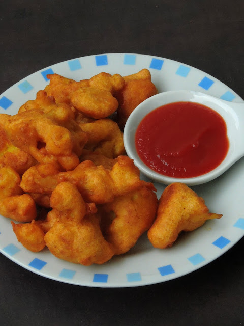 Cauliflower Bajji, Wheat Flour Cauliflower Fritters