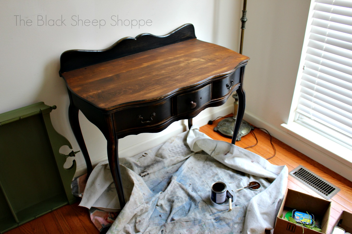Stained top in Antique Walnut