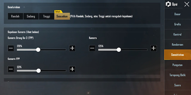 Settingan Sensitivitas Gyroscope PUBGM Terbaru No Recoil