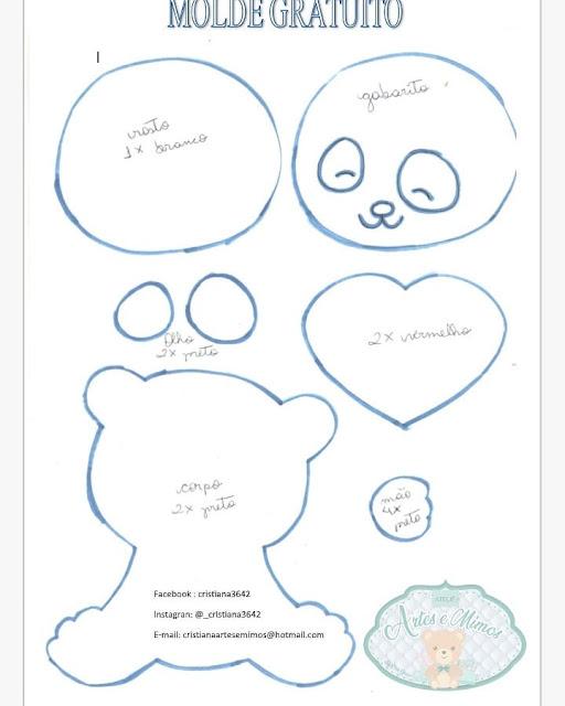 Ursinho Panda Em Feltro Com Molde Para Imprimir Como Fazer