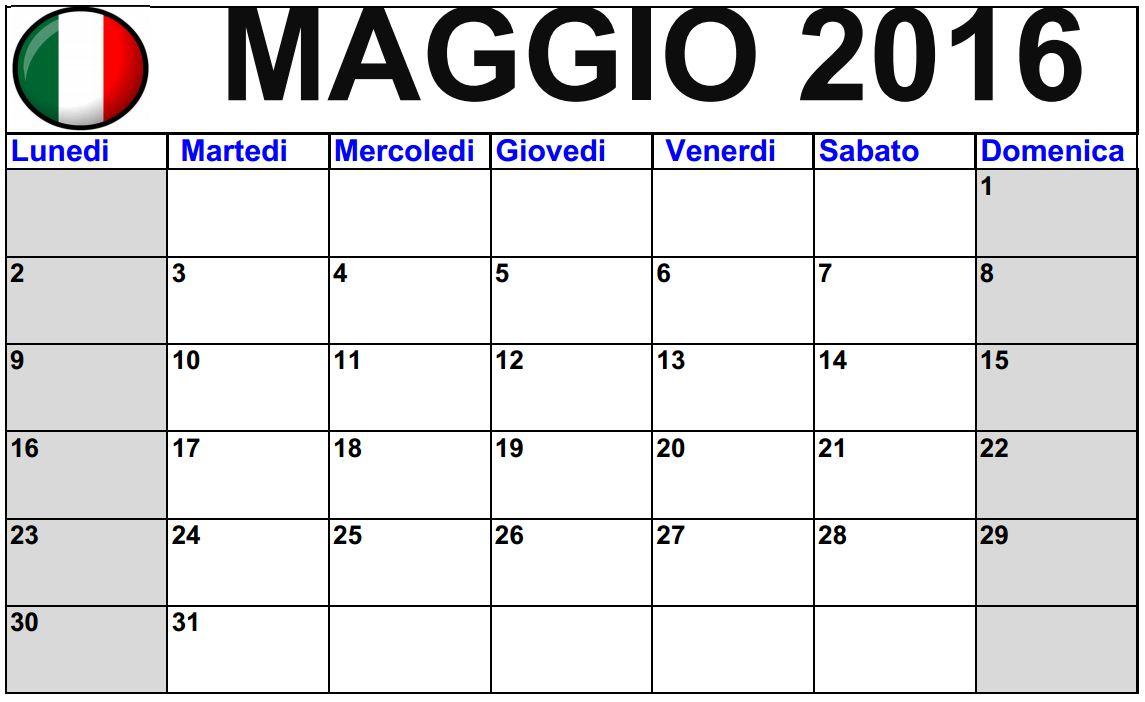 Calendari Maggio 2016 da stampare - Italiano | 2016 Blank Calendar ...