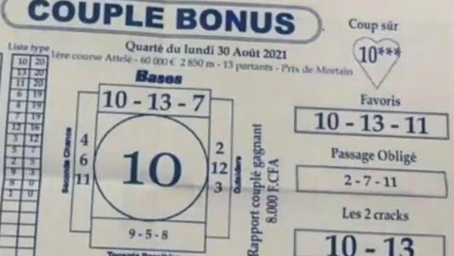 Pronostics quinté pmu Lundi Paris-Turf-100 % 30/08/2021