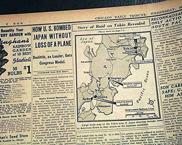 Map of Doolittle raid, 20 May 1942 Chicago Daily Tribune worldwartwo.filminspector.com