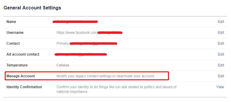 masuk ke pengaturan facebook