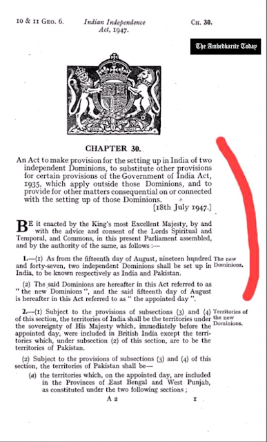 The Indian Independence Act 1947 states that 15th August 1947 shall be called THE APPOINTMENT DAY