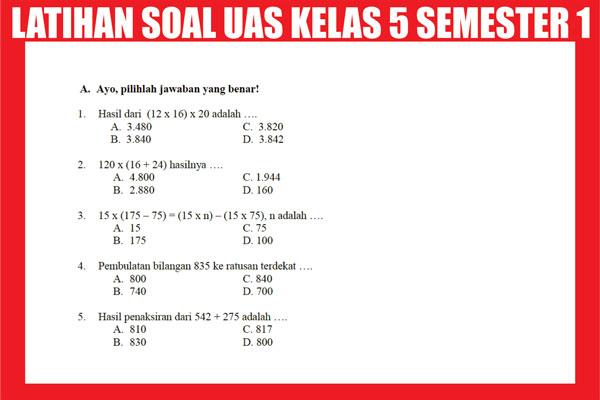 Latihan Soal UAS Kelas 5 SD/MI Semester 1 (ganjil)