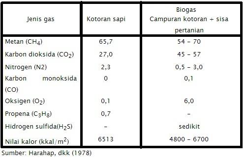 Kandungan Gas Biogas
