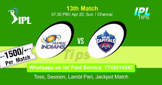 IPL T20 Mumbai vs Delhi 13th Match Who will win Today? Cricfrog