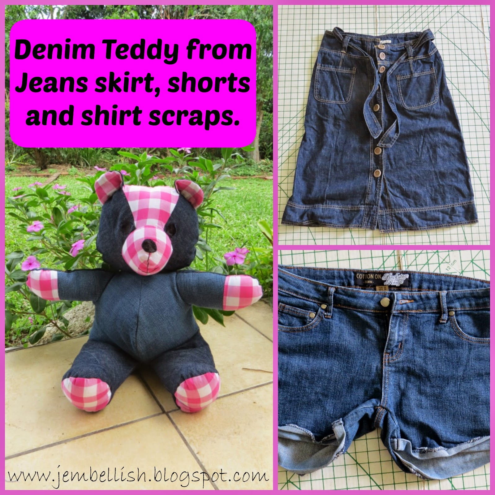 Denim Teddy Bear from Jeans skirt and shorts