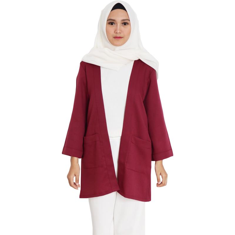 Outer Wanita Atasan Cardigan Muslim Casual - Burgundy